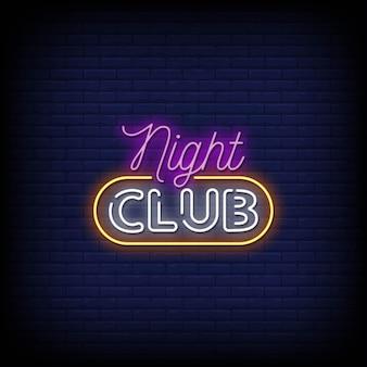 Nachtclub neonschilder stil text