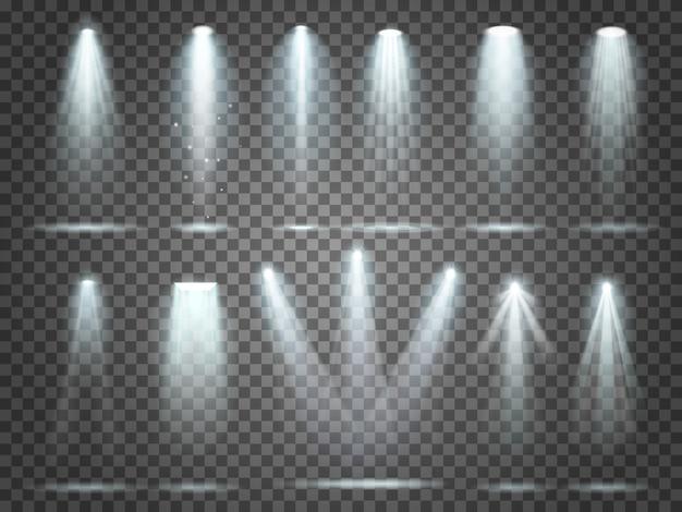 Nachtclub-parteiflutlichter auf der szene und weißen scheinwerfern, die realistischen satz 3d des innenvektors beleuchten