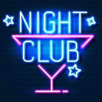 Nachtclub . stadtschild neon. helles schild
