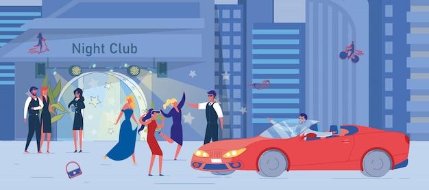 Nachtclub und gruppe betrunkener freundinnen draußen