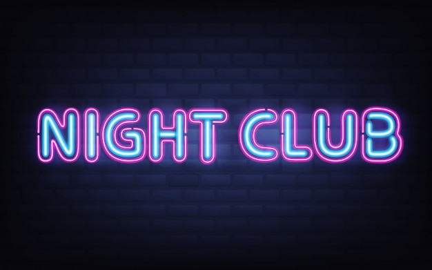 Nachtclubneonbeschriftung auf dunkler backsteinmauer. blaues rosa, das in hohem grade ausführliches realistisches glühendes schild glänzt