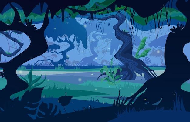 Nachtdschungel tropischer waldlandschaftsblick durch flache illustration der bäume