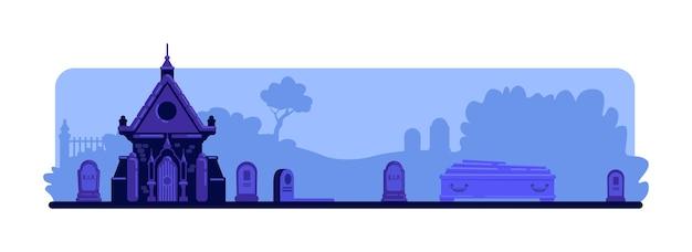Nachtfriedhof flache farbe. grabsteine und altes krypta-gebäude. sarg und gräber. spooky friedhof 2d karikaturlandschaft mit grabsteinen und bäumen auf hintergrund