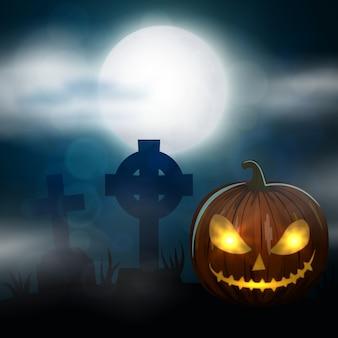 Nachtfriedhof, kreuze, grabsteine und gräber. bunte gruselige halloween-illustration.