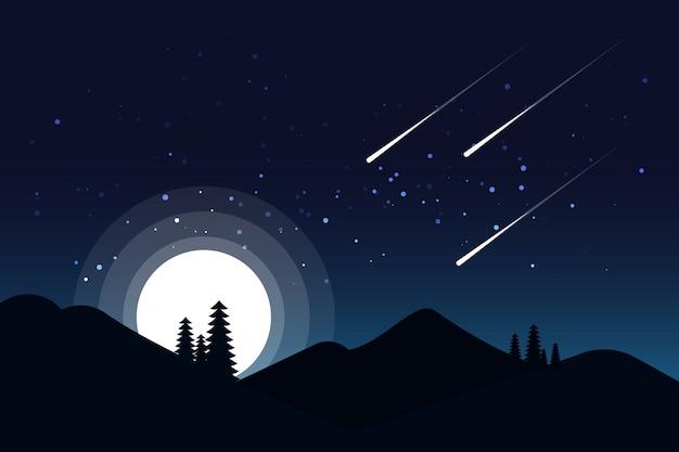 Nachthimmel mit hellen leuchtenden sternen
