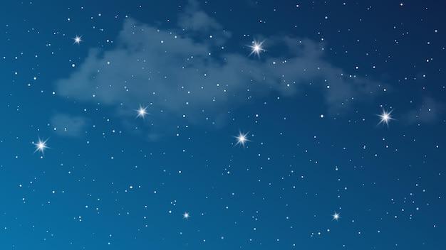 Nachthimmel mit wolken und vielen sternen. abstrakter naturhintergrund mit sternenstaub im tiefen universum. vektor-illustration.