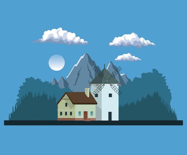 Nachthintergrundlandschaft von bergen und von haus mit windmühle