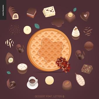 Nachtischguß - buchstabe q - digitale illustration des modernen flachen vektorkonzeptes des versuchungsgusses, süße beschriftung. buchstaben aus karamell, toffee, keks, waffel, keks, sahne und schokolade