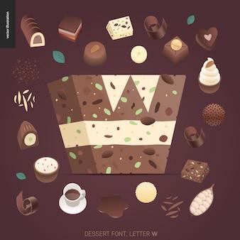 Nachtischguß - buchstabe w - digitale illustration des modernen flachen vektorkonzeptes des versuchungsgusses, süße beschriftung. buchstaben aus karamell, toffee, keks, waffel, keks, sahne und schokolade