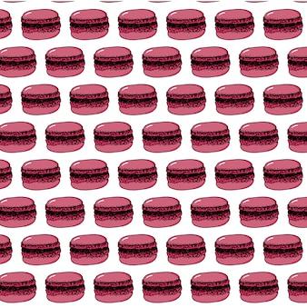 Nachtischmuster mit bunten makronenplätzchen auf weiß. vektor-illustration