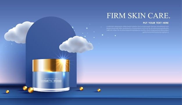Nachtkosmetik- oder hautpflegeproduktanzeigen mit flasche, bannerwerbung für schönheitsprodukte, sternen- und wolkenhintergrund mit glitzernden lichteffekten. vektor-design.