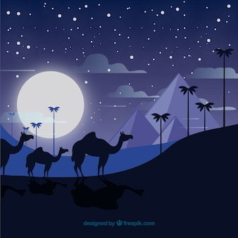 Nachtlandschaft ägyptens mit wohnwagen und pyramiden