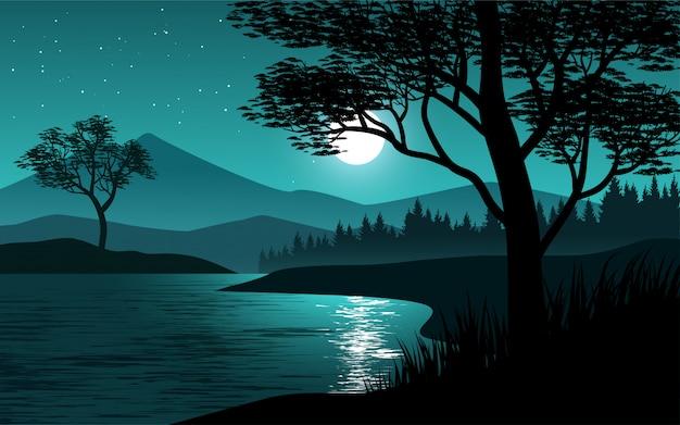 Nachtlandschaft am flussufer