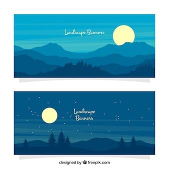 Nachtlandschaft banner mit mond