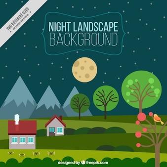 Nachtlandschaft grünen hintergrund mit häusern