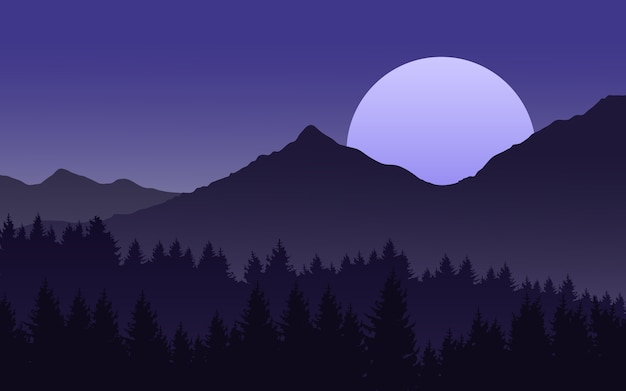 Nachtlandschaft mit dem mond, der über berg steigt