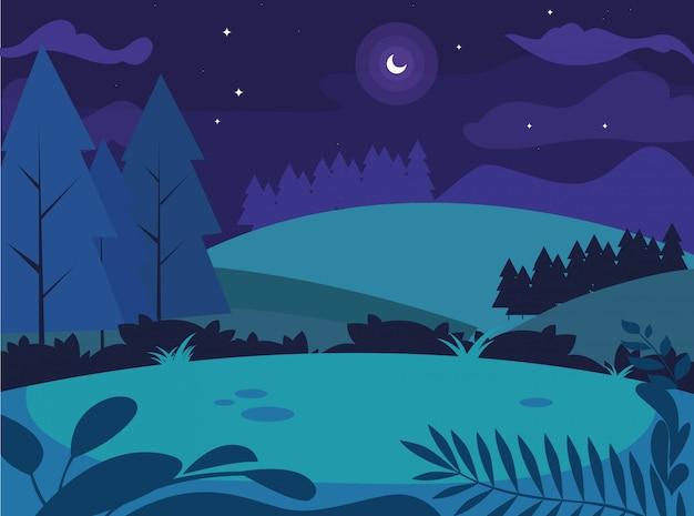 Nachtlandschaft mit der kiefernbaumszene natürlich
