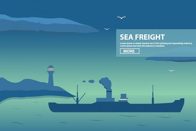 Nachtlandschaft transport dampfschiff frachttanker. der massengutfrachttransport und der transport von waren auf dem seeweg und zum meer. cargo versendet das schiff bei lieferung von waren. leuchtturm