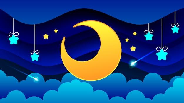 Nachtlandschaft von dicken wolken der nächtliche himmel eine schöne landschaft