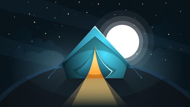 Nachtlandschaft. zelt und mond.