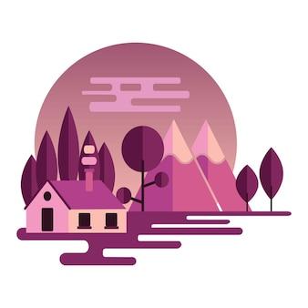 Nachtlandschaftsillustration im flachen stil mit bergen, wald und hom. hintergrund für sommercamp, naturtourismus, camping oder wandern designkonzept. vektor-illustration.