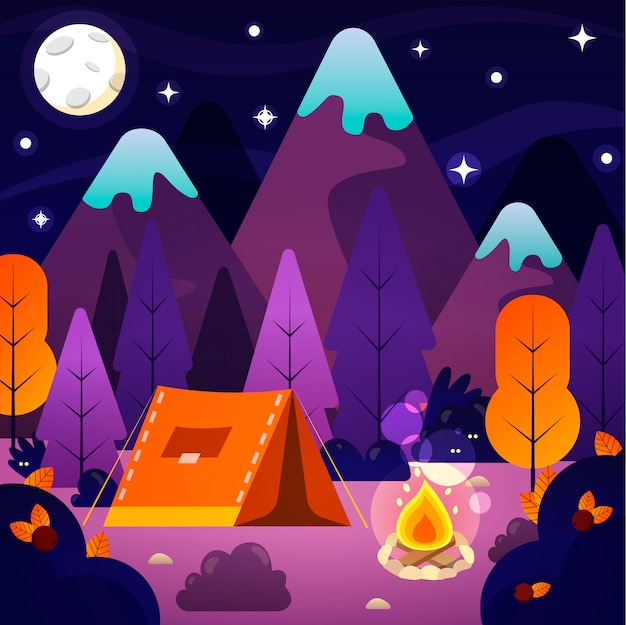 Nachtlandschaftsillustration mit zelt, lagerfeuer, bergen und nachthimmel. konzept für sommercamp, naturtourismus, camping- oder wanderdesignkonzept.