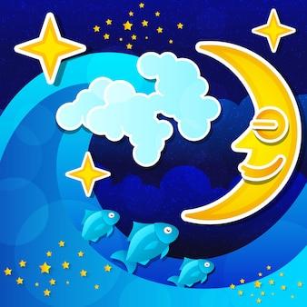 Nachtmeerblick mit vollmond und sternenhimmel. vektor-illustration