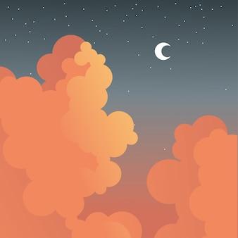 Nachtmond und sterne mit wolkenentwurf, landschaftsnaturumgebung und thema im freien