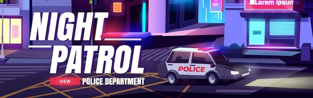 Nachtpatrouillenkarikatur-webbanner mit polizeiabteilungsauto mit signalisierung reitender nachtstadtstraße mit häusern
