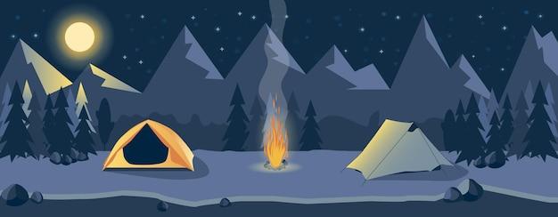 Nachts campen in den bergen am fluss. berglandschaft. erholung im freien.