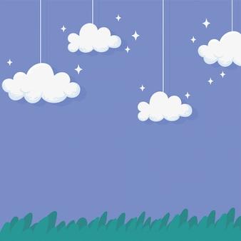 Nachts hängen und funkeln wolken