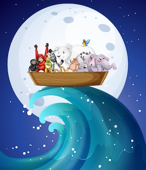 Nachts viele wilde tiere auf dem boot