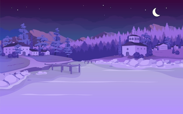 Nachtsee in der flachen farbillustration des dorfes