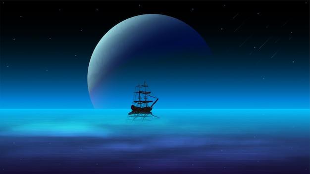 Nachtseelandschaft mit einem dunklen himmel und einem großen planeten am horizont, sternenhimmel und einem schiff im wasser auf dem hintergrund des planeten