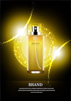 Nachtserum mit glänzendem gold beleuchtet und funkelt auf abstraktem kreishintergrund