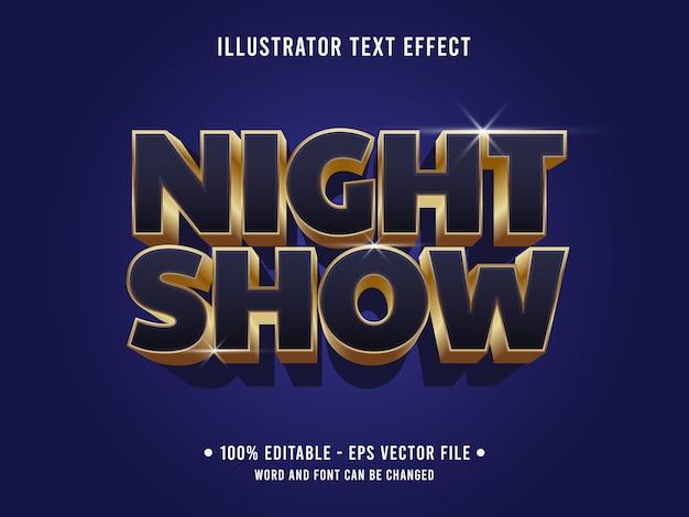 Nachtshow bearbeitbarer texteffekt im modernen stil mit schwarzgoldener farbe