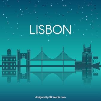 Nachtskyline von lissabon