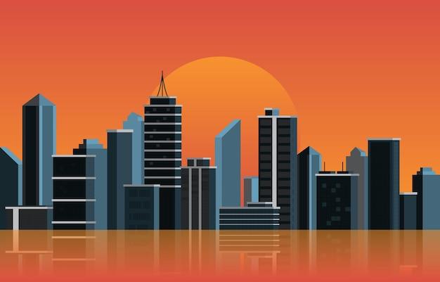 Nachtstadt-gebäude-bau-stadtbild-skyline-geschäftsillustration