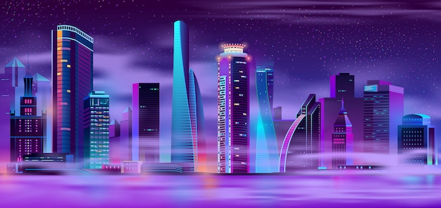 Nachtstadt im städtischen hintergrund des nebels