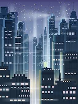Nachtstadt, stadtszene, wolkenkratzer, türme, sternenhimmel, lichter, horizont, perspektive