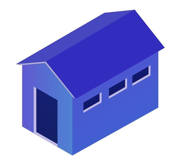 Nachtstadtgebäude-lagerhangararchitektur ist eine idee von technologiegeschäftsausrüstung flacher städtischer isometrischer illustration