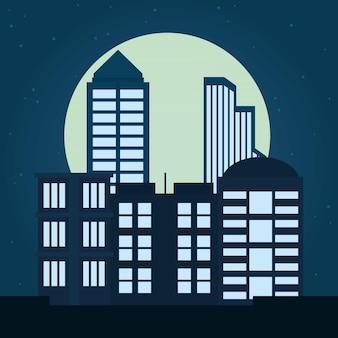 Nachtstadtgebäudeillustration