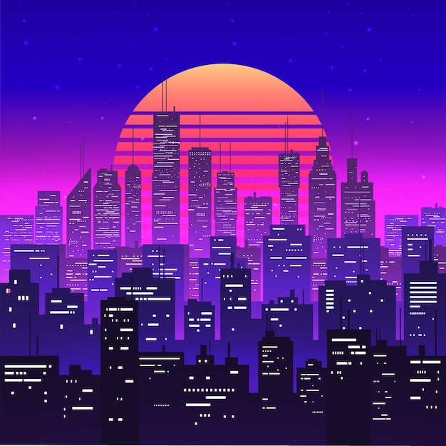 Nachtstadtlandschaft bei lila neonretrowave oder dampfwellen-ästhetischem sonnenuntergang. wolkenkratzer silhouetten. dämmerungsstadtbild. vintage-stil.