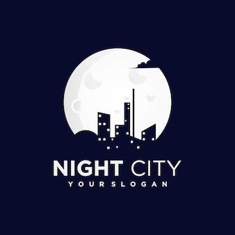 Nachtstadtlogo mit einer silhouette von stadt- und gebäudeansichten
