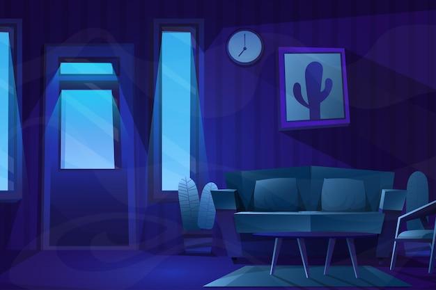Nachtszene von stuhl und tisch auf holzboden
