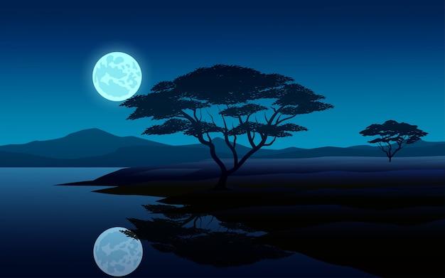Nachtszenenillustration mit mond und fluss