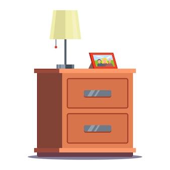 Nachttisch mit lampe und fotorahmen. flache illustration lokalisiert auf weiß.