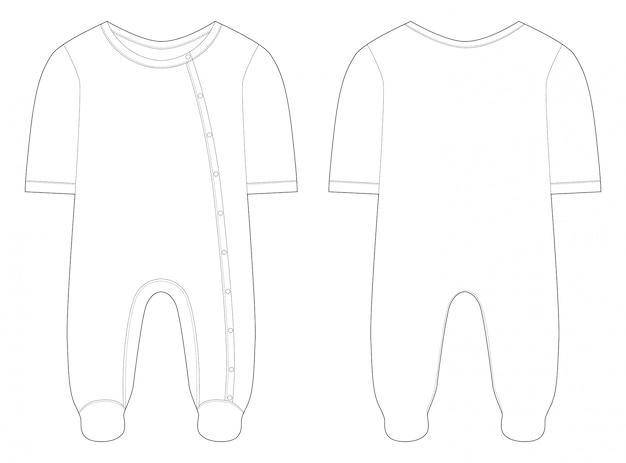 Nachtwäsche für babys und mädchen. technische zeichnung.