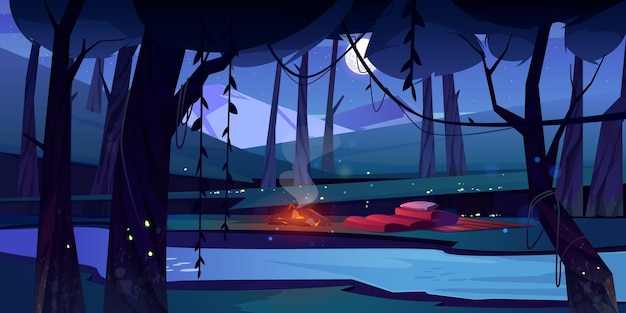 Nachtwald mit lagerfeuerfluss und bergen
