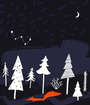 Nachtwinterwaldlandschaft mit bäumen fuchs sternenhimmel und mond weihnachtskartendesign